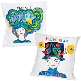 Set of 2 M et Mme Bonheur pillowcovers