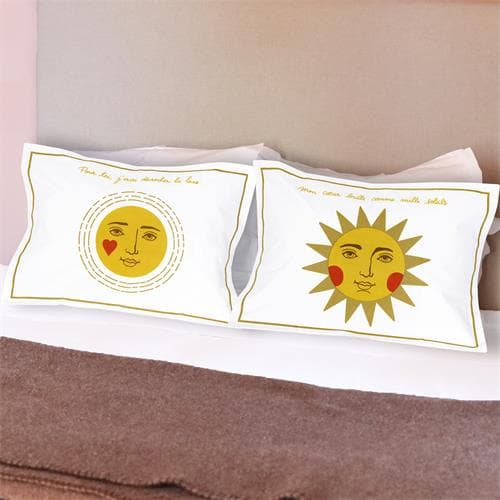 2 Taies d' oreiller Lune et Soleil